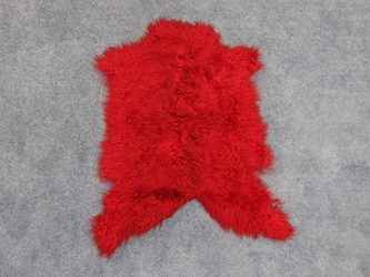 Dyed Angora Goatskin: #2: Small: Red: Assorted