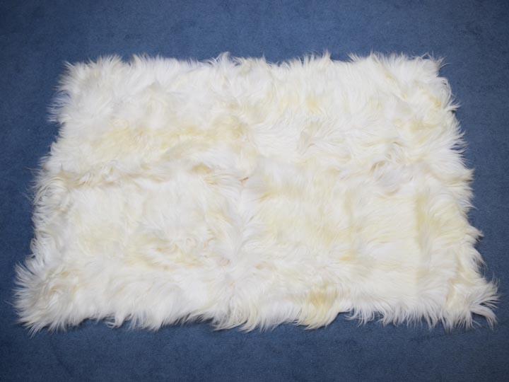 Kidassia Goatskin Rug: Bleached White