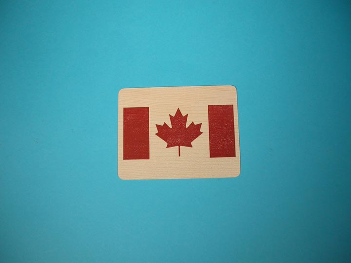 Canadian Flag Wooden Postcard