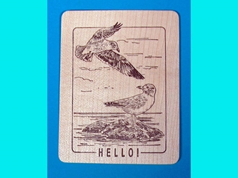 Hello! Wooden Postcard