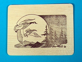 Geese with Moon Wooden Postcard