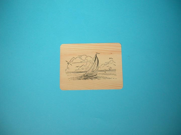 Sailboat Wooden Postcard