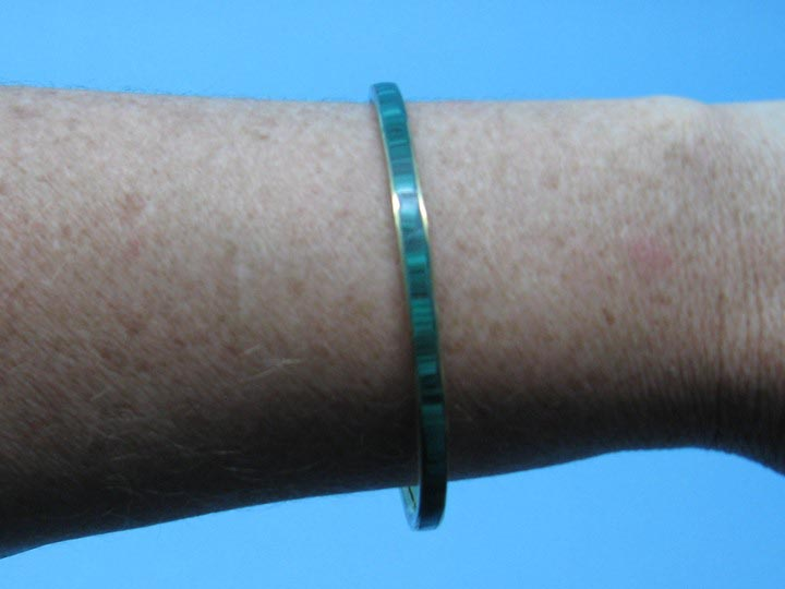 Copper or Brass Bangle: Thin Malachite