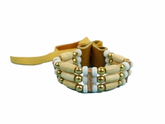 Iroquois 3-Row Cow Bone Bracelet