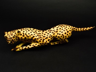 African Hunting Cheetah Wood Carving