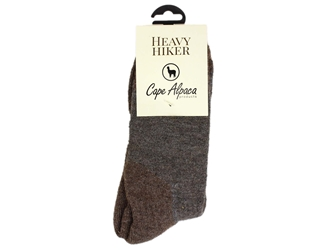Alpaca Socks: Heavy Hiker: Brown: Size 4-7 hiking socks