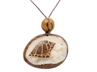 Tagua Nut Necklace: Box Turtle Relief