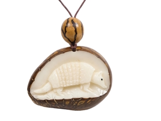 Tagua Nut Necklace: Armadillo Relief