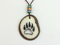Tagua Nut Necklace: Bear Track Cut Out bear track cut-out tagua nut necklace
