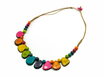 Necklace Style 1: Tagua Slices and Acai Seeds Necklace: Assorted Colors