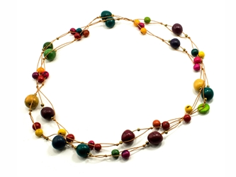 Necklace Style 2: Tagua and Acai Beads Long Necklace: Assorted Colors