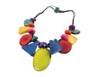 Necklace Style 3: Tagua Slices and Discs Short Necklace: Assorted Colors