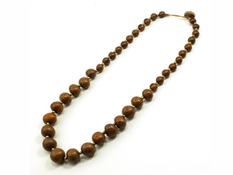 Necklace Style 4: Tagua and Acai Bead Single-Strand Necklace: Brown