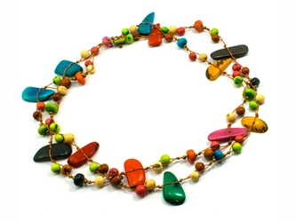 Necklace Style 5: Random Size Tagua Pieces and Acai Long Necklace: Assorted Colors
