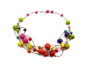 Necklace Style 6: Tagua and Acai Beads Necklace: Assorted Colors