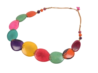 Necklace Style 7: Tagua Slices and Acai Beads Necklace: Assorted Colors