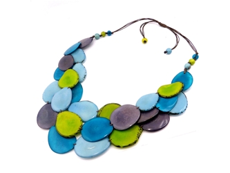 Necklace Style 8: Tagua Slices Three-Strand Necklace