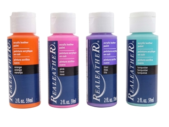 4-Pack of Acrylic Leather Paint: Bright Colors 4 pack of acrylic leather paints, real leather paints
