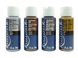 4-Pack of Acrylic Leather Paint: Metallic Colors 4 pack of acrylic leather paints, real leather paints
