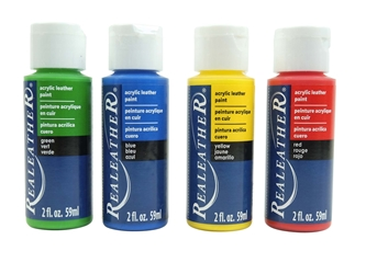 4-Pack of Acrylic Leather Paint: Primary Colors 4 pack of acrylic leather paints, real leather paints