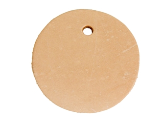 Leather Round with Hole: Camp Quality leather rounders, leather cut-outs, leather cutouts, leather cut outs