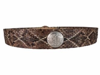 "1"" Real Rattlesnake Hat Band with Nickel, Brass & Real Rattle rattlesnake hatbands"