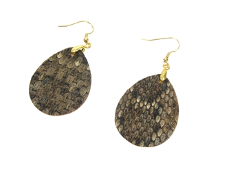 Real Rattlesnake Skin Teardrop Earrings: Gold