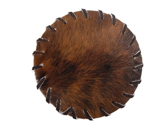 Cow Skin Coaster: Round Leather Lace Edged