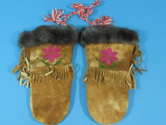 Cree Smoked Moose Gauntlets: Gallery Item cree smoked moosehide gauntlets, moose gloves, moosehide gloves, moose mitts, moosehide mitts