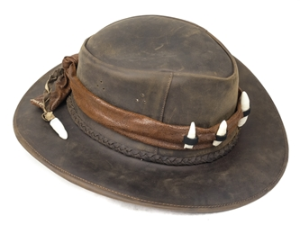 "Leather Hat with Band and 6 Alligator Teeth: EU Size 5-5.5 or 22.5"": Gallery Item leather hats with alligator teeth"