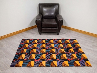 Cow Hide Carpet: Dyed Patchwork: Gallery Item