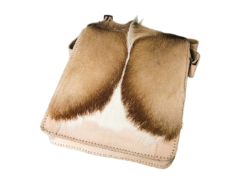 Leather Man Bag with Springbok Fur: Gallery Item man bags, leather bags, leather satchels