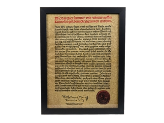 Framed German Beer Purity Act (Reinheitsgebot) Parchment: Gallery Item