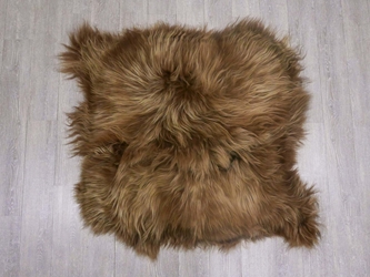 Icelandic Sheepskin Double Rug: Dyed Brown: Gallery Item