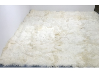 Icelandic Sheepskin Rug: ~12x12 ft: White: Gallery item